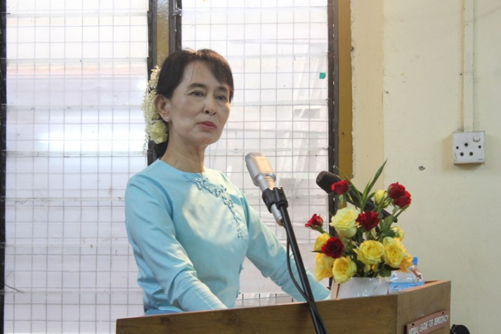 Aung San Suu Kyi delivering a speech following her release in 2010