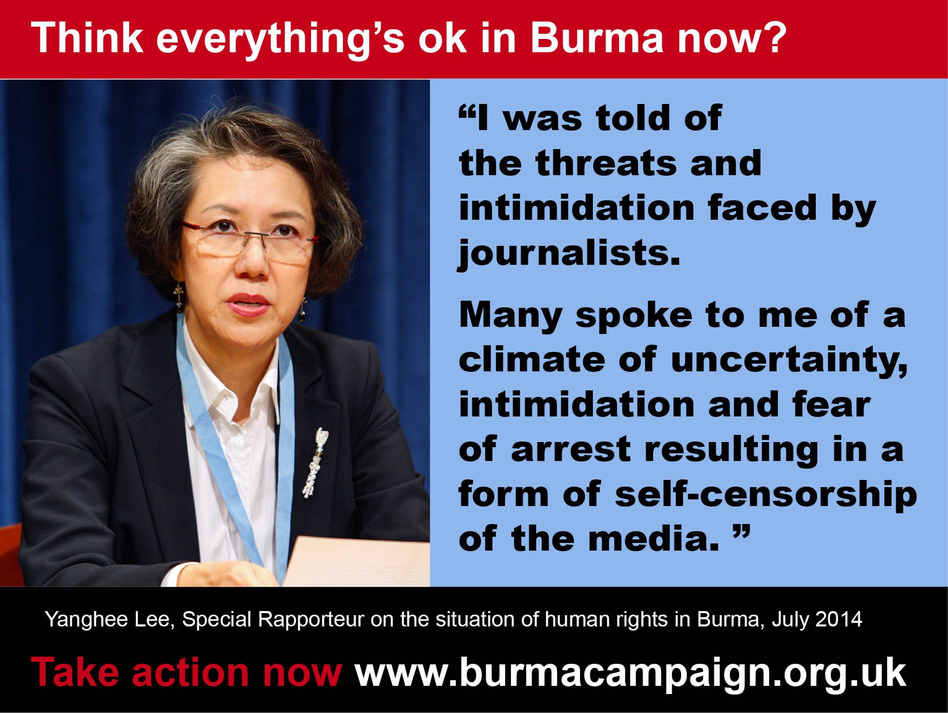 1 think everything ok Yanghee Lee UN report 2014 media threats burma campaign UK