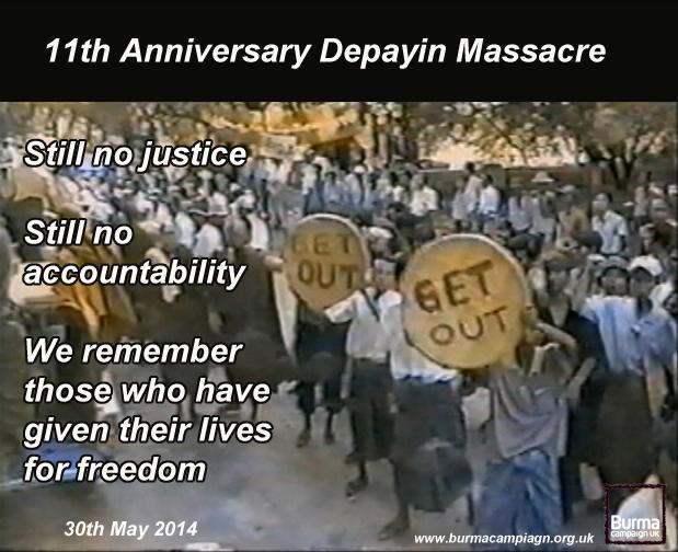 11 anniversary depayin massacre burma campaign uk