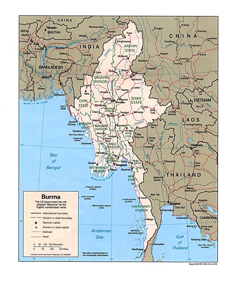 Burma Political Map.Maps Burma Campaign Uk