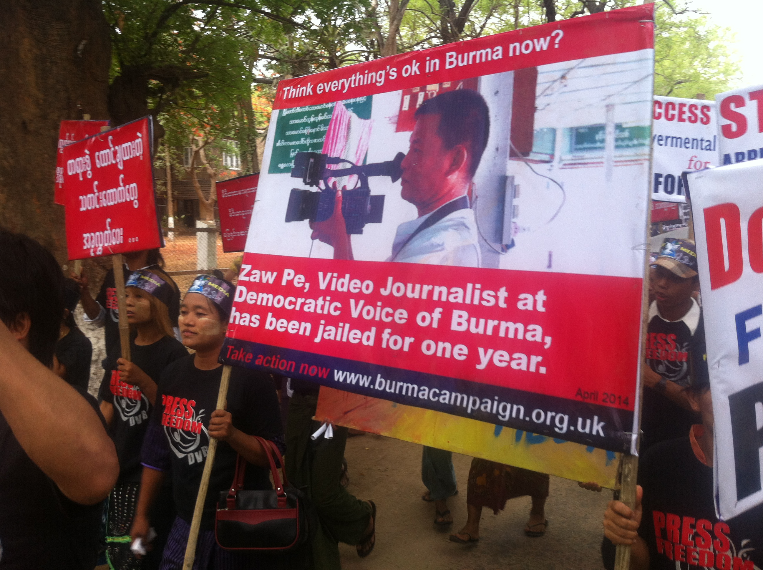 Media Freedom protest Magwe 7th May 2014 Credit DVB