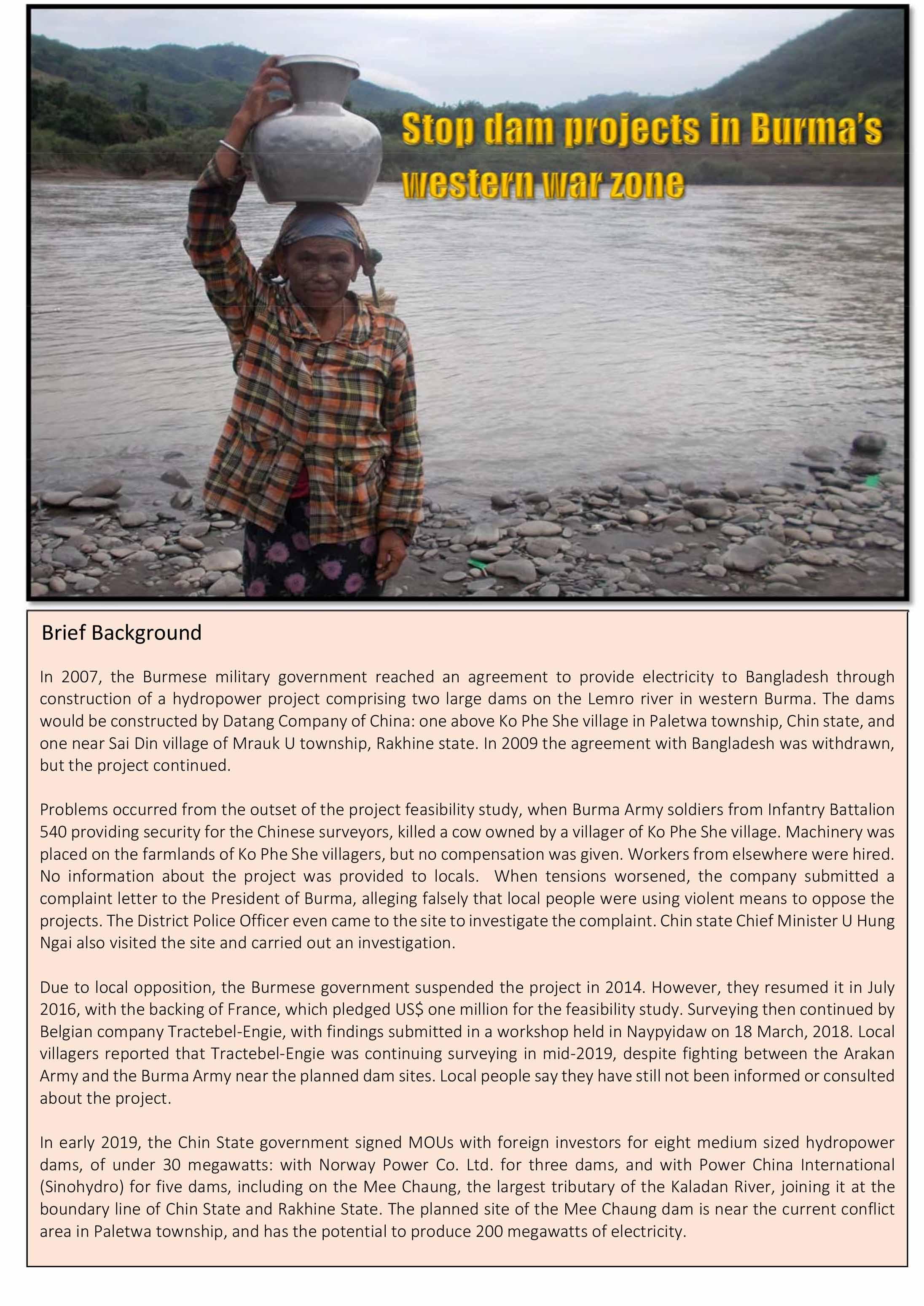 Stop Dam Projects in Burma's Western War Zone