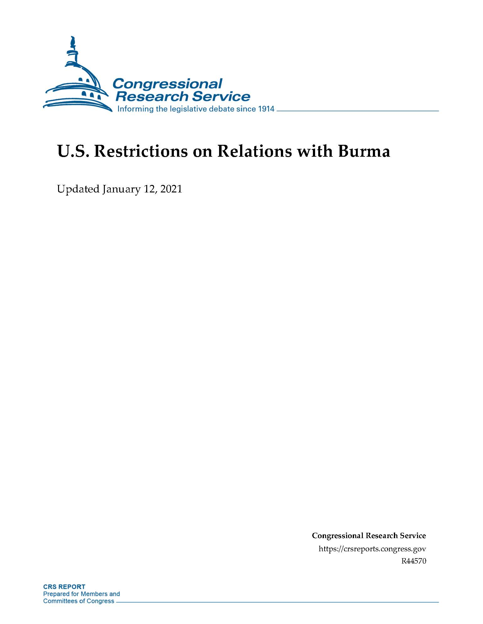 US Restrictions on Relations with Burma