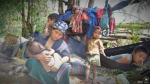 Villagers from He Ko Lo Der are camped in a mountain valley after fleeing their homes on 5th March_