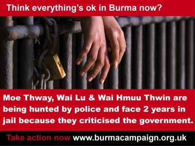 think_everything_ok_Moe_Thway_Wai_Lu_and_Wai_Hmuu_Thwin_face_jail_criticised_government_burma_campaign_UK_thumb